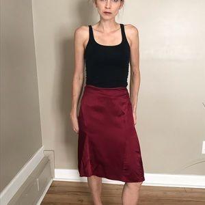 Diane Von Furstenberg Red Silk Knee Skirt Size 10